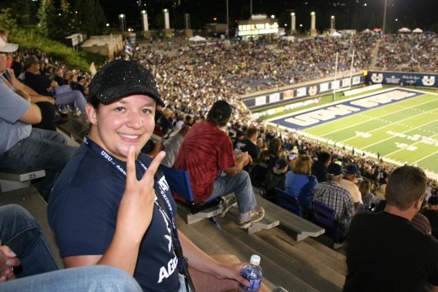 Girl at football game.